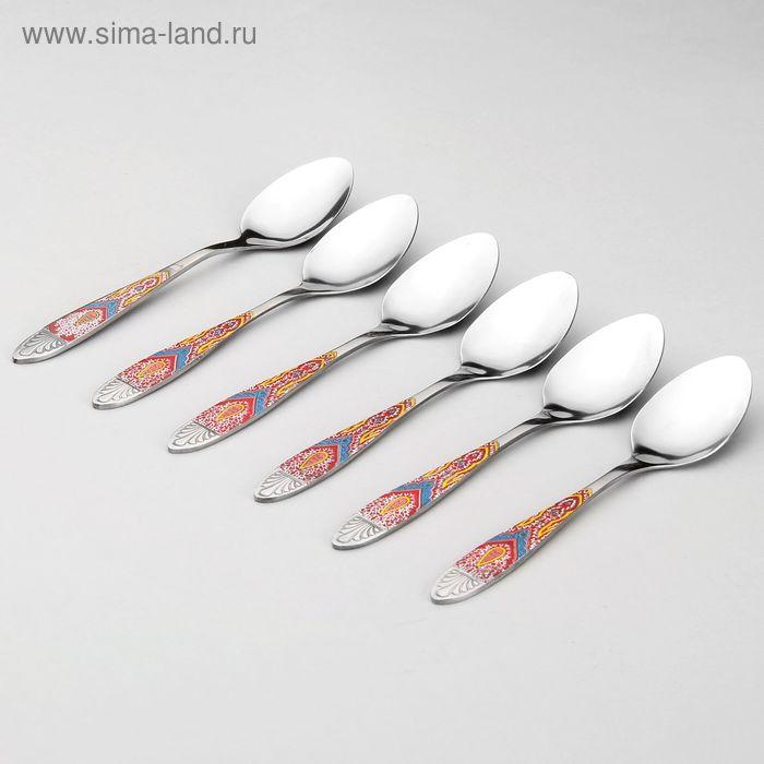 """Набор ложек чайных 6 шт """"Павлин""""14,5 см"""