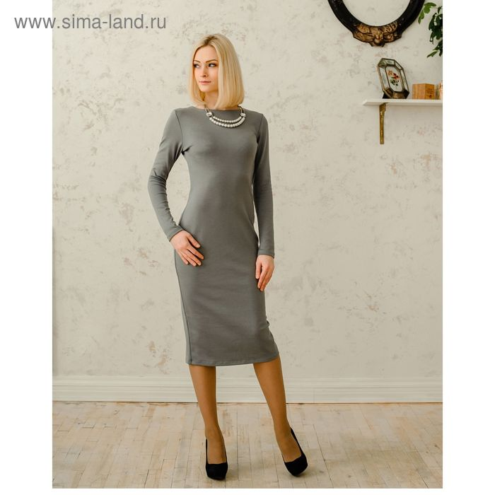 Платье женское, размер 50, рост 168 см, цвет светло-серый (арт. 1522 С+)