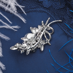 """Brooch """"Bouquet with pearls"""", color grey white silver"""