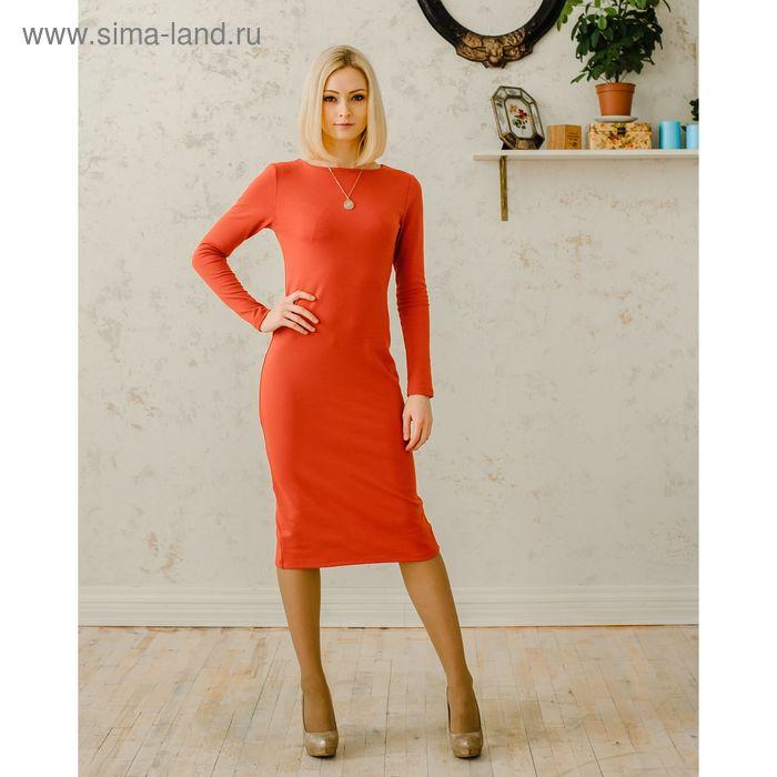 Платье женское, размер 50, рост 168 см, цвет кирпичный (арт. 1522 С+)