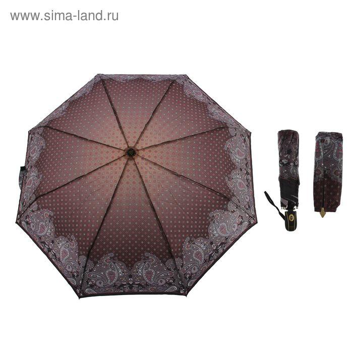 """Зонт автоматический """"Орнамент"""", S-15105-4, R=51см, цвет коричневый"""