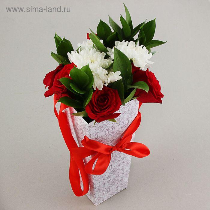 """Пакет для цветов """"Узор"""", 32х15х13 см"""