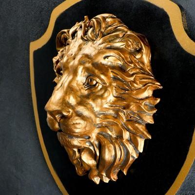 """Панно """"Голова льва"""" бронза, щит черный 40см"""