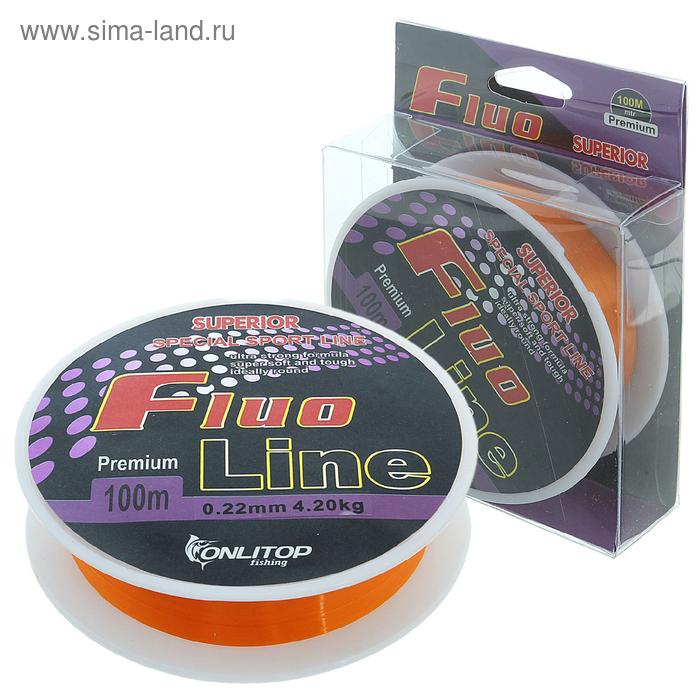 Леска капрон Fluo Line оранжевый d=0,22 мм, 100 м