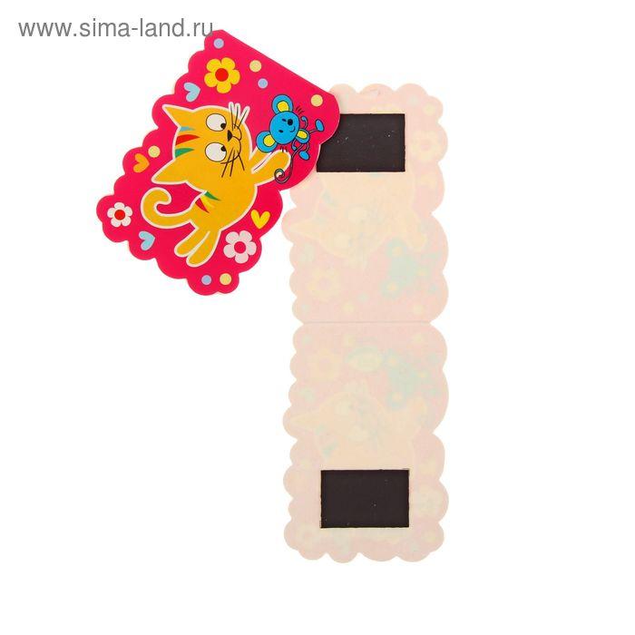 "Мини-открытка с магнитом ""Кот"" розовый фон"