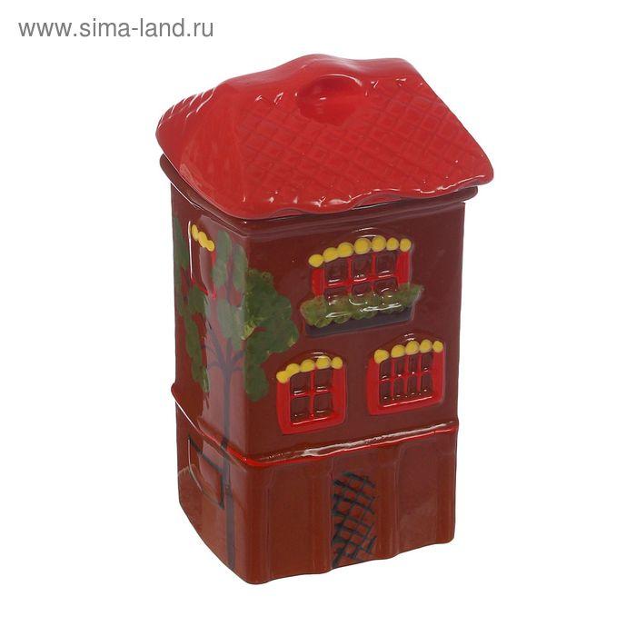 """Банка для сыпучих продуктов """"Дом"""" с росписью 1 л"""