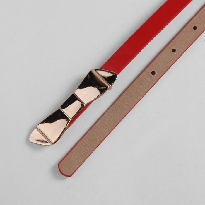 """Ремень женский """"Бант"""", пряжка-гвоздь под золото, ширина - 1,5см, красный"""