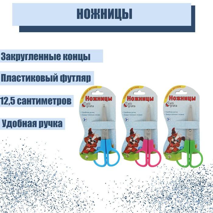 Ножницы 12,5 см пластиковом в футляре, МИКС