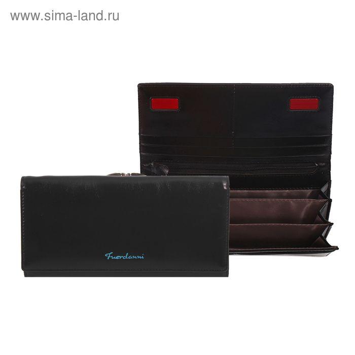 Кошелёк женский на магните, 4 отдела, отдел для карт, 2 отдела на рамке, чёрный