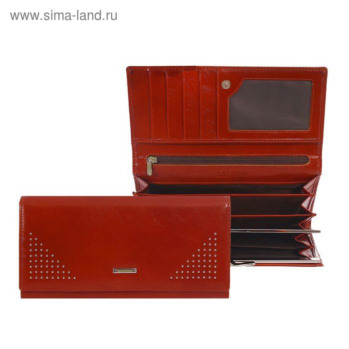 Кошелёк женский на магните, 4 отдела, отдел для карт, 2 отдела на рамке, наружный карман, коричневый