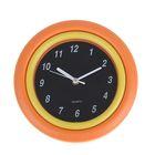 """Часы настенные круглые """"Сочность"""", d=24 см, циферблат чёрный, рама багет жёлто-оранжевая"""