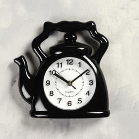 """Часы настенные, серия: Кухня, """"Чайник"""", черный, 24х24 см, плавный ход"""