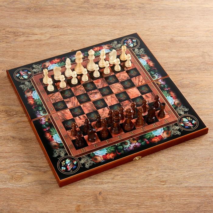 """Настольная игра 3 в 1 """"Цветы"""": шахматы, шашки, нарды (доска дерево 50х50 см)"""