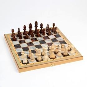 "Настольная игра 3 в 1 ""Мрамор"": шахматы, шашки, нарды (доска дерево 40х40 см)"