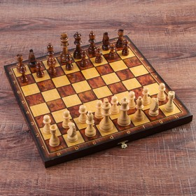 """Настольная игра 3 в 1 """"Классическая"""": шахматы, шашки, нарды (доска дерево 40х40 см) микс"""
