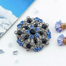 """Brooch """"Empress"""" round, color blue in silver"""