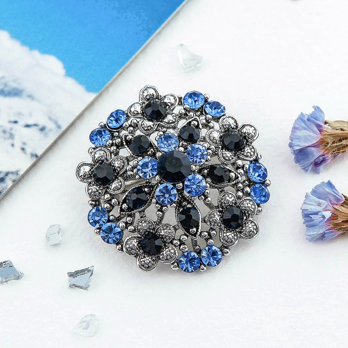 """Брошь """"Императрица"""" круг, цвет голубой в серебре - фото 240532586"""