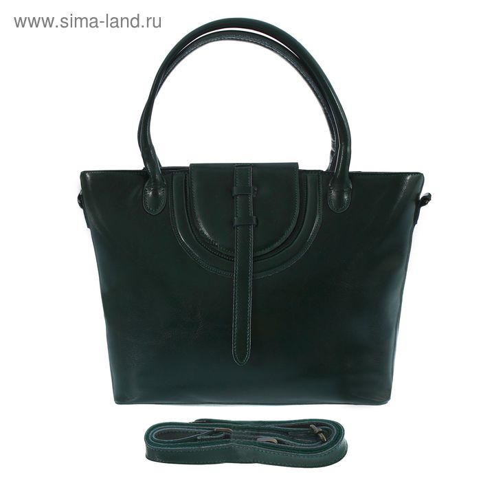 Сумка женская на молнии, 1 отдел с перегородкой, наружный карман, длинный ремень, зелёная