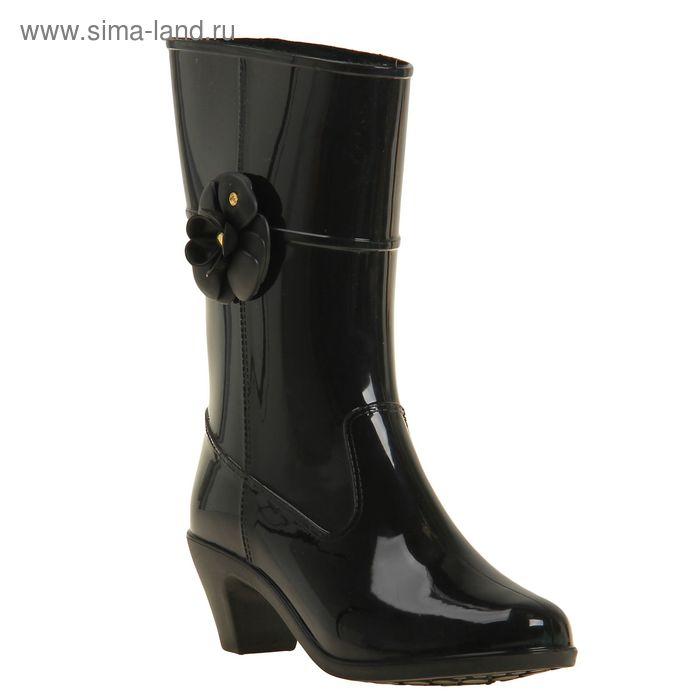 Сапоги женские на каблуке с утеплителем, цвет чёрный, декор МИКС, размер 36 (арт. арт.7Р)