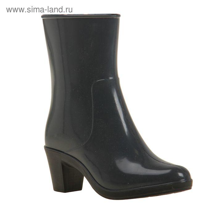 Сапоги женские с утеп арт.8 на каблуке с молнией (серый) (р. 36)