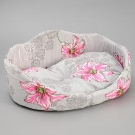 Лежанка овальная с фигурной спинкой, 49 х 36 х 19 см микс цветов Ош