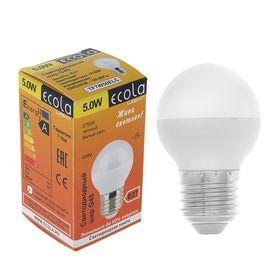 """Лампа светодиодная Ecola, E27, 5 Вт, 2700 К, 75x45 мм, """"шар"""""""