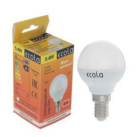 Лампа светодиодная Ecola, G45, 5.4 Вт, E14, 2700 К, 82x45, теплый белый