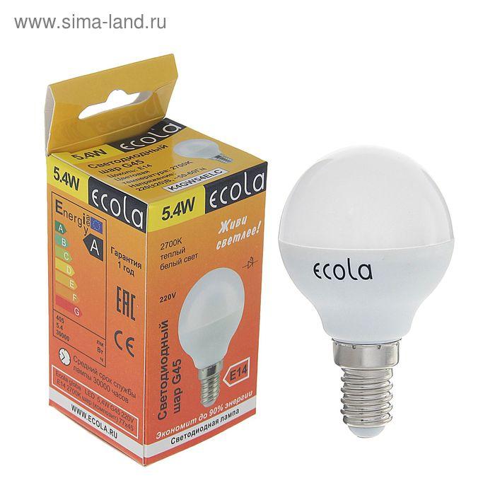 """Лампа светодиодная Ecola, E14, 5.4 Вт, 2700 К, 77x45 мм, """"шар"""""""