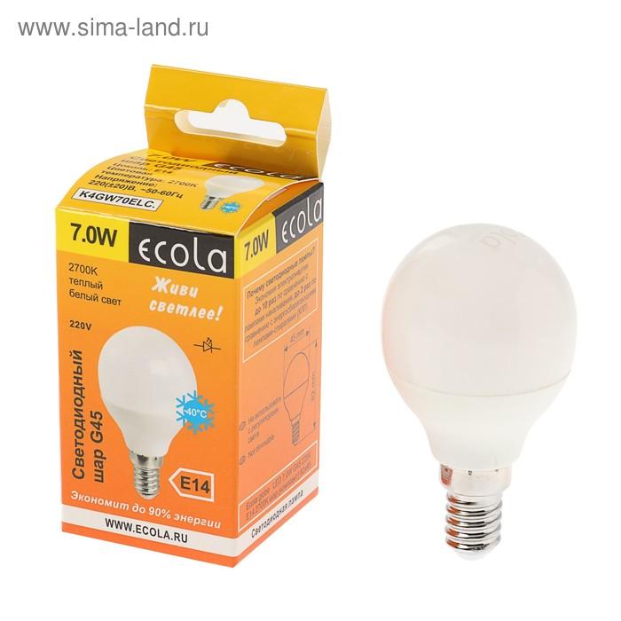 """Лампа светодиодная Ecola, E14, 7 Вт, 2700 К, 77x45 мм, """"шар"""""""