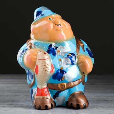 """Копилка """"Рыбак"""", глянец, голубой цвет, 24 см, микс"""