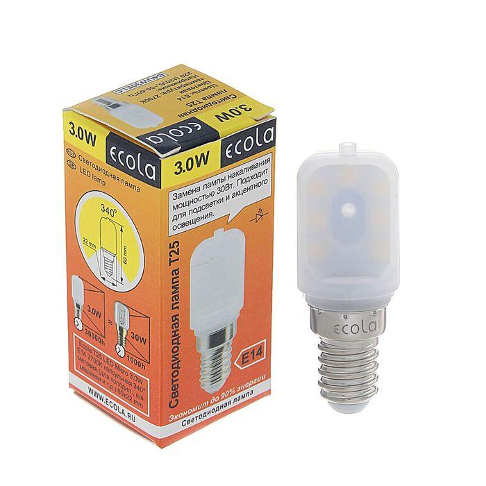 Лампа светодиодная Ecola, T25, 3 Вт, E14, 2700 К, 340°, для холодильников и швейных машин