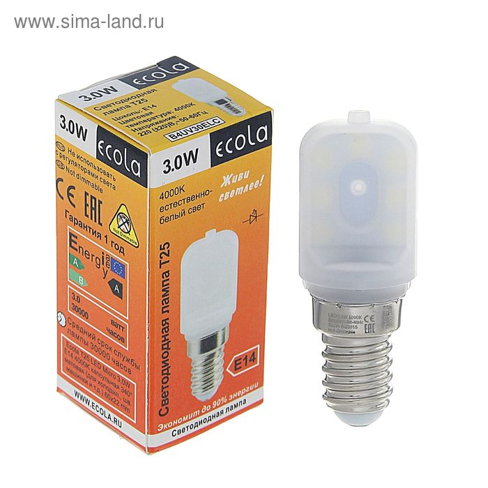 Лампа светодиодная Ecola, E14, Т25, 3 Вт, 4000 K, 340°, для холодильников и швейных машин