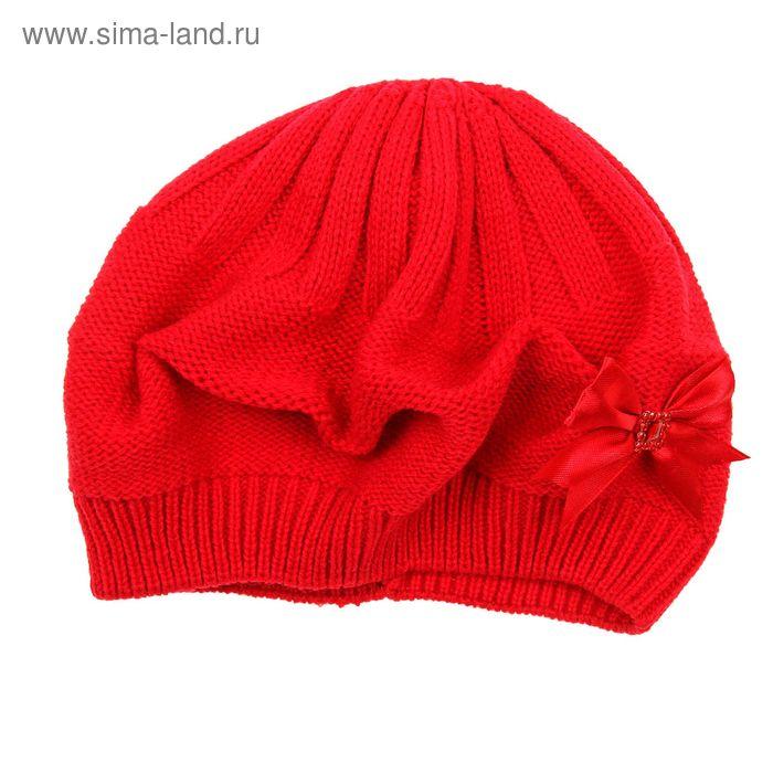 """Берет для девушек """"КСЮША"""" демисезонный, размер 54-56, цвет красный 160720"""