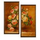 """Модульная картина в раме """"Букет из роз"""", 2 шт. — 58×28 см, 58×56 см"""