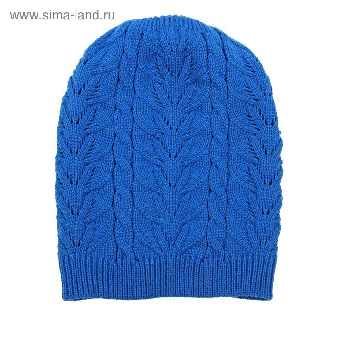 """Шапка для девушек """"МИШЕЛЬ"""" демисезонная, размер 54-56, цвет синий 160945"""