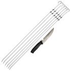 Шампуры набор (6 шампуров+1 хозяйственый нож), размер 585 х 10 х 2 мм