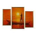"Модульная картина в раме ""В лодке на закате"", 2 шт. — 53×28 см, 71×43 см, 71×99 см"