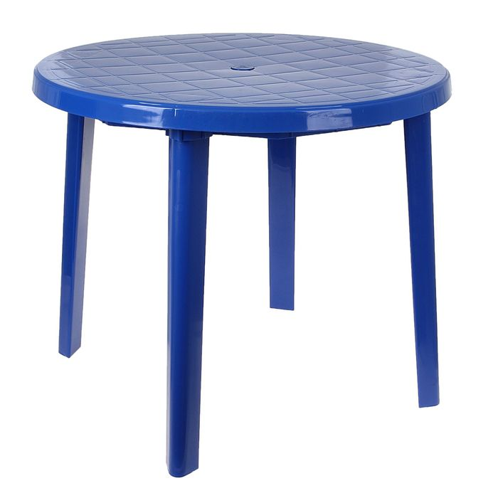 Стол круглый, размер 90 х 90 х 75 см, цвет синий