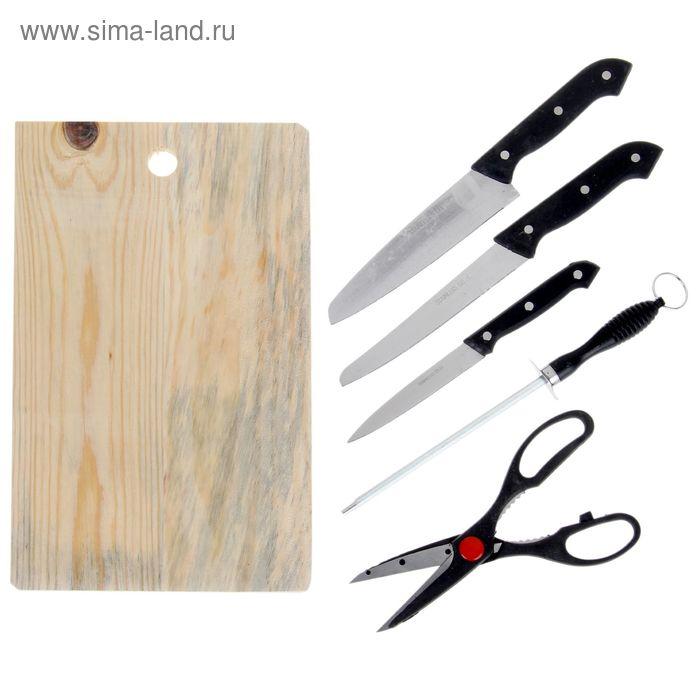 Набор 5 предметов: 3 ножа 11/17/18 см, ножницы, мусат