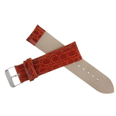 Watchband, 22mm, faux leather, reptile texture, Burgundy, 19cm
