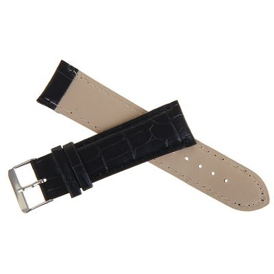 Watchband, 22mm, faux leather, reptile texture, black, 19cm