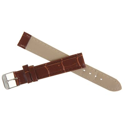 Watch band, 16mm, faux leather, reptile texture, brown, 19cm
