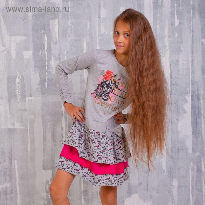 """Платье для девочки """"Ever After High"""", рост 152 см (80), цвет серый/набивка (арт. ZG 14129-FM2_П)"""