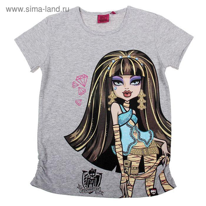 """Футболка для девочки """"Monster High"""", рост 146 см (76), цвет серый меланж (арт. ZG 02430-М2_Д)"""