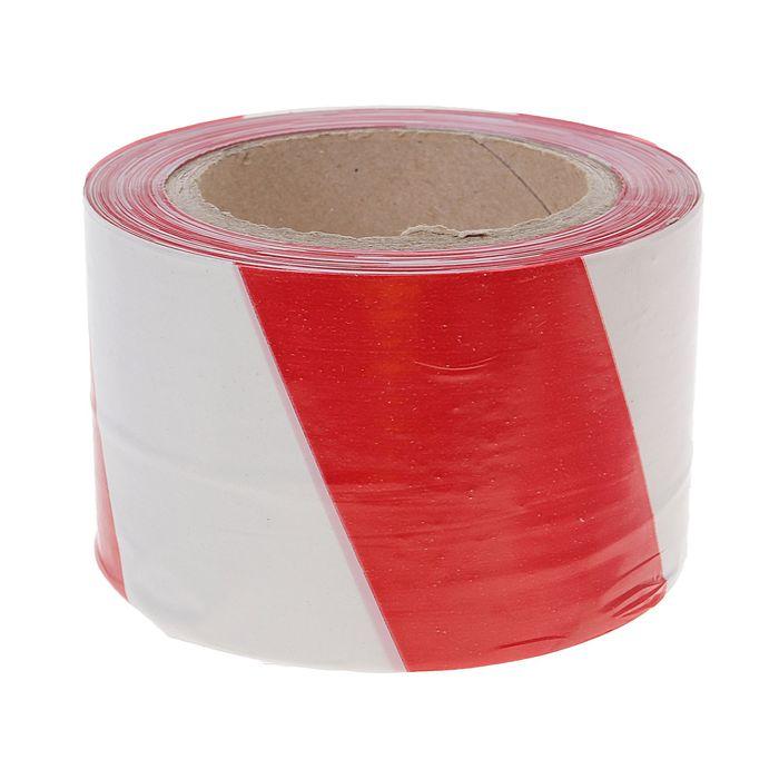 Лента оградительная, красно-белая, ширина 7,5 см, 100 м