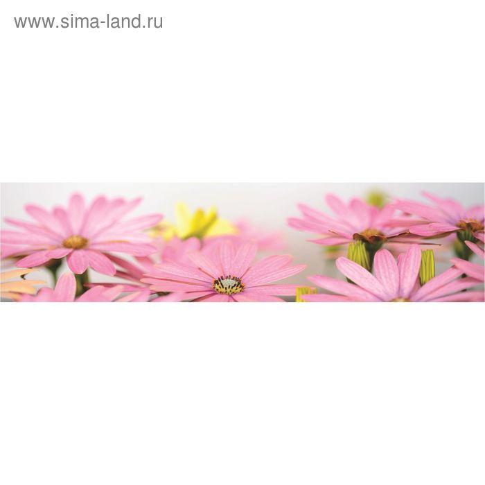 """Кухонный фартук """"Цветы розовые"""" 2440х600х3 мм"""