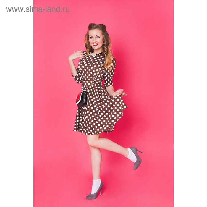Платье женское 4590, размер 42, рост 164 см, цвет бежевый/белый