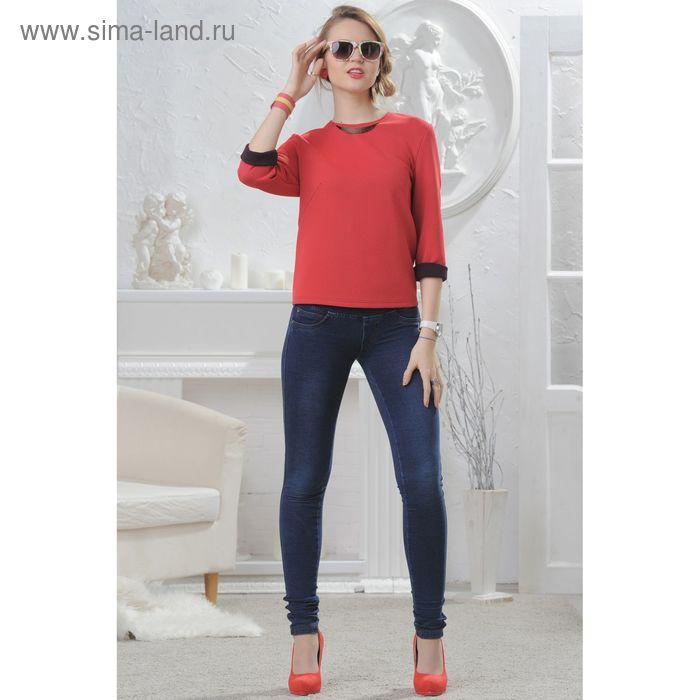 Блузка женская 4578, размер 48, рост 164 см, цвет коралл/чёрный