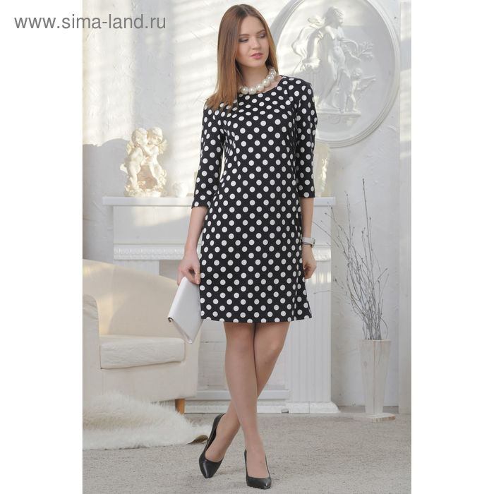 Платье женское, размер 50, рост 164 см, цвет чёрно-белый (арт. 4589 С+)