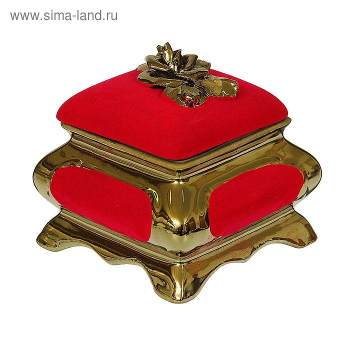 "Шкатулка ""Золотая роза"" булат, флок, красная"